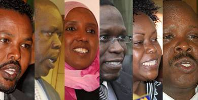 Description: Photos/FILE  From Left: Mr Abdikadir Mohammed (Mandera Central), Olago Aluoch (Kisumu Town West), Sofia Abdi Noor (nominated), Ababu Namwamba (Budalang'i), Millie Odhiambo (nominated) and Isaac Ruto (Chepalungu).